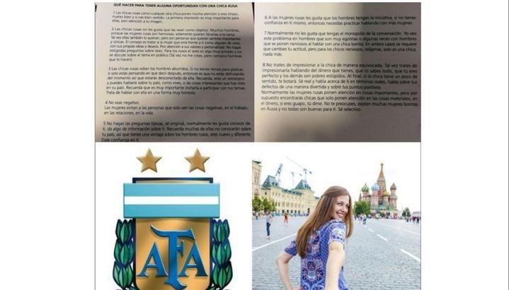 Escándalo: AFA aconsejó cómo conquistar a una chica rusa