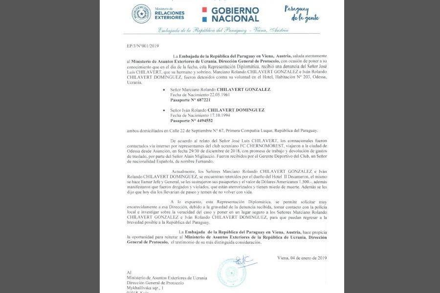 nota embajada denuncia Chilavert