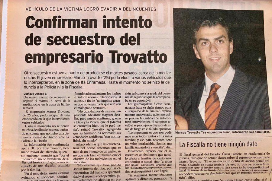 recorte MArco Trovato intento de secuestro 2005 TW TROVATO